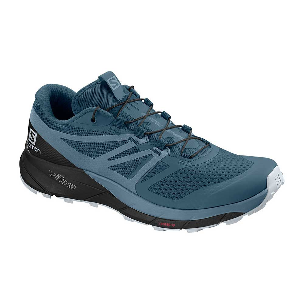 Salomon women's Sense Ride 2 trail run shoe in Cyan Blue-Mallard Blue-Cashmere Blue, or dark blue with light blue accents